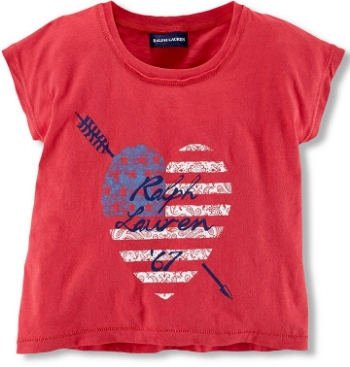 This  Ralph Lauren Americana Tee  is a  preppy cap-sleeved T-Shirt made from soft cotton jersey and has a heritage-inspired flag-and-heart graphic print.