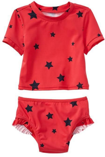 This  GAP Star ruffle rashguard two-piece  has short sleeves with banded cuffs, mock neck, bikini bottom with ruffle trim at leg openings, and allover Star Print.  It also has UPF 50+ to protect your little one's skin from the sun on hot Summer Days.