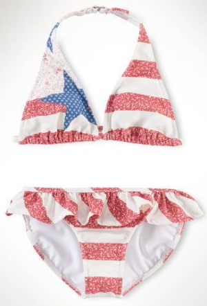 This  Ralph Lauren Flag Two-Piece  is a heritage-inspired bikini with a fun Americana stars-and-stripes pattern and cute ruffled trim. I love this Stars and Stripes Swimsuit so much, I wish it came in women's sizes, but this pattern does come in  Girls sizes 7-16  and a  tankini for infant girls