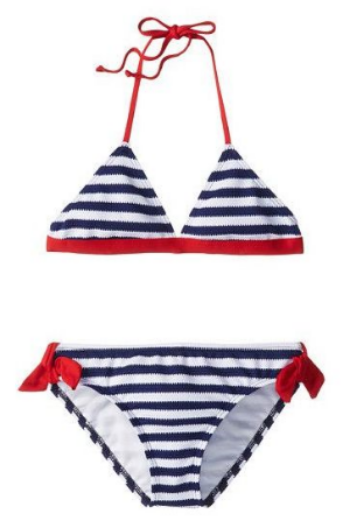 This  Splendid Littles Miami Stripe Banded Triangle & Retro Bottom  is a chic textured dot jacquard stripe with a stylish pop of color for the trim.