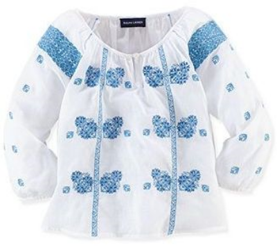 This  Ralph Lauren Girls' Embroidered Top  is a light-and-airy cotton gauze Boho Blouse in a flowing silhouette with beautiful allover embroidered details.