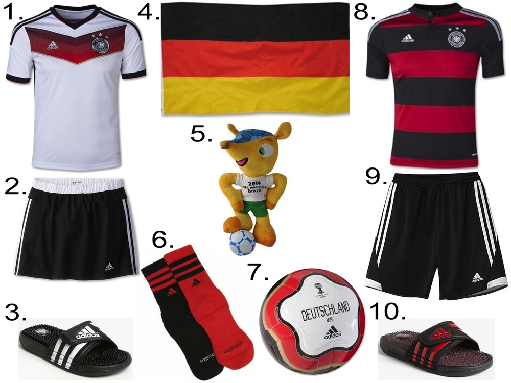 GERMANY NATIONAL SOCCER TEAM 1. Germany 2014 Youth Home Soccer Jersey$69.99 from worldsoccershop.com 2. adidas Kids Response Skort (Little Kids/Big Kids) $31.99 from zappos.com 3. adidas'Adissage' Sandal (Toddler, Little Kid & Big Kid) $24.95 from nordstrom.com 4. Germany Flag $6.99 fromworldsoccershop.com 5. 2014 FIFA world cup mascot Armadillo Fuleco plush toy$16.59 from aliexpress.com 6. adidasKids' Youth 2PK Team Crew$11.99 from famousfootwear.com 7. Germany 14 Capitano Mini Ball$12.99fromworldsoccershop.com 8. Germany 2014 Youth Away Soccer Jersey $69.99fromworldsoccershop.com 9. adidasTIRO 13 SHORTS $22.00 10. adidas'Adissage - Fade' Sandal (Toddler, Little Kid & Big Kid) $29.95 fromnordstrom.com