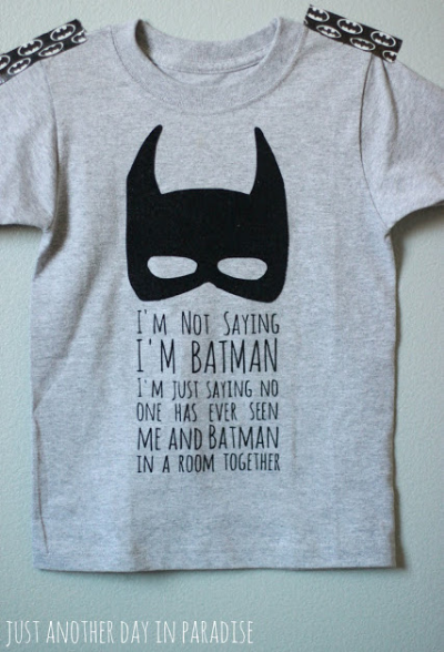 This Just Another Day In Paradise DIY Batman T-Shirt is absolutely adorable!  The blogger talks you through the steps to make this adorable mini me version of an Adult's T-Shirt from skreened.com. I really want to try to make this Mask T-Shirt for Mario- I am not sure I will be able to cut out all the small letters, but just the Mask will also be a Cool Mask T-Shirt!