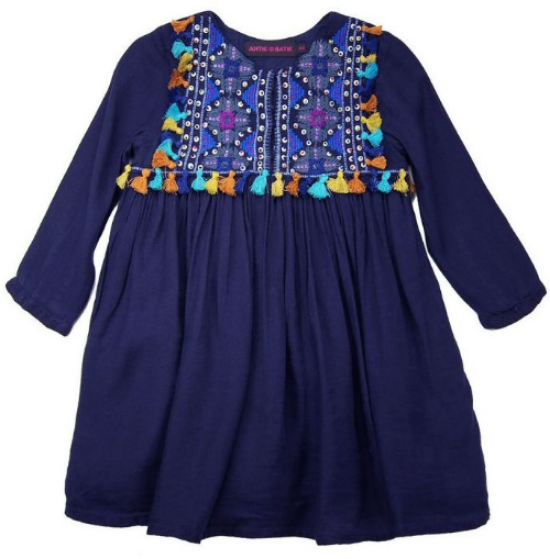 "This   Antik Batik  ""Jones"" Dress  is a Bohemian Chic Dress. It is the perfect Dress for your little one this summer, and it will look cute into fall/winter as well. It has beautiful, intricate Embroidery details that make this Dress truly stunning and unique."
