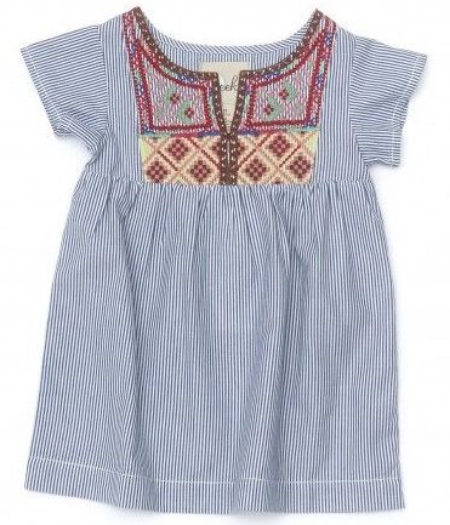 This  Peek 'Arnette' Embroidered Seersucker Dress  has beautiful Embroidery details on the the yoke of this breezy, cotton seersucker stripe Boho Dress.
