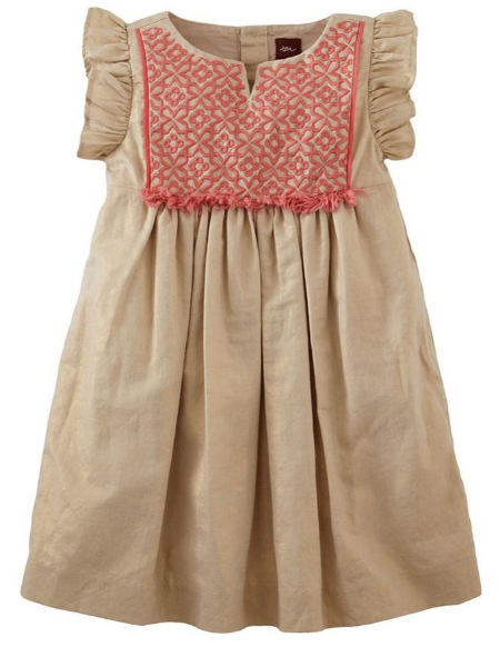 This  Tea Collection Flutter Sleeve Dress    is a Boho Dress your daughter will love. It is a  shimmering sundress with gorgeous color-pop Embroidery at the bodice.