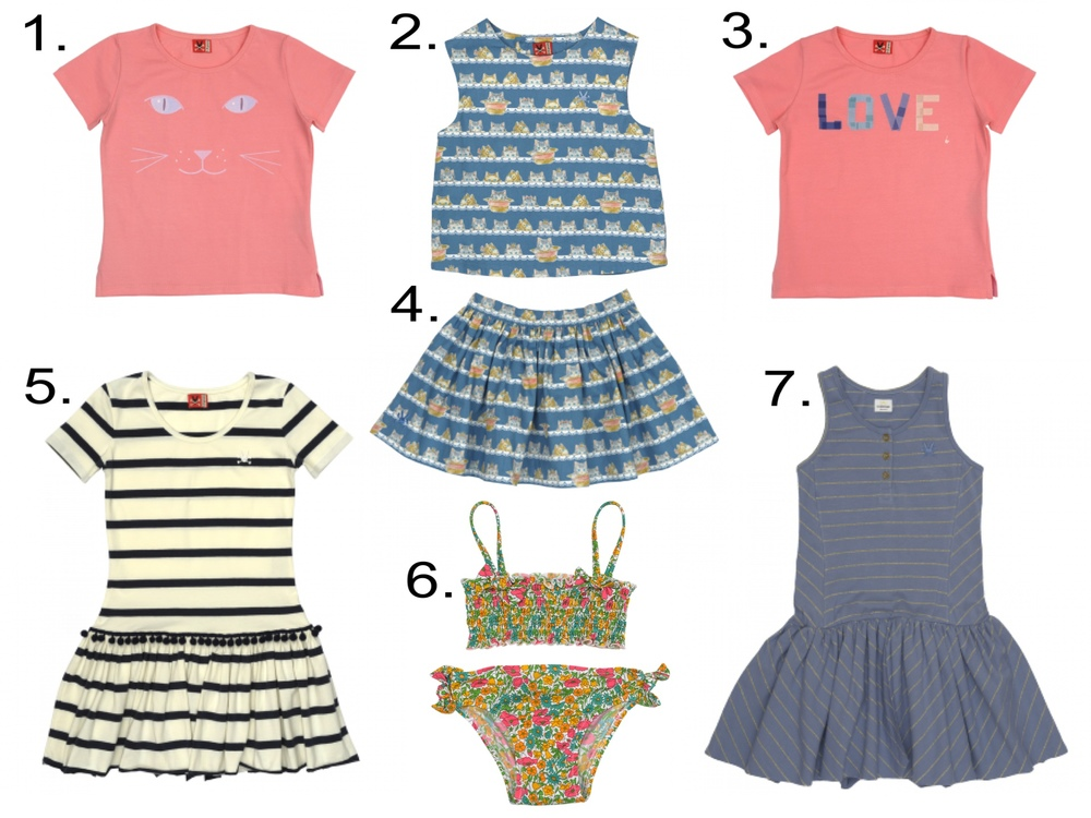 Favorite Girls' Sale @   noaddedsugar.com   1.   Cat T-Shirt  2.  Peeking Tom Top   3.  Love T-Shirt   4.  Peeking Tom Skirt   5.  Meringue Stripe Dress   6.  Liberty Swim 2- PC  7.  Stormy Gold Dress