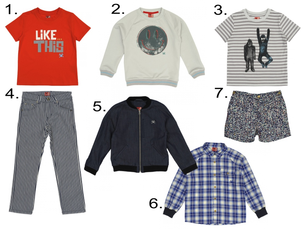 Favorite Boys' Sale @   noaddedsugar.com   1.   Like This T-Shirt   2.  Good Trip Sweatshirt  3.  Shaggy Monster T-Shirt  4.  Stripe Pants  5.  Buffalo Stance Jacket  6.  Picnic Check Shirt  7.  Liberty Shorts