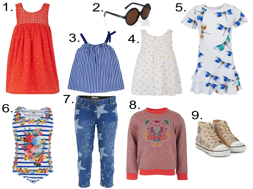 Favorite Girls' Sale @  alexandalexa.com   1.   Stella McCartney Kids Sleeveless Dress   2.  Zoobug Snakeskin Print Sunglasses  3.  Petit Bateau Stripe Top   4.  Stella McCartney Kids Bib Detailing Top  5.  Mini Rodini Dragonfly Print Ruffle Dress  6.  Stella McCartney Stripe Flower Swimsuit  7.  Stella McCartney Kids Stars Skinny Fit Jeans  8.  Kenzo Melange Tiger Sweatshirt  9.  Ash Beige Leather Star Studded High-Tops