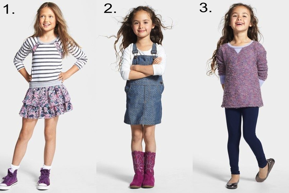 Favorite Girls' Sale @  nordstrom.com   1.   Truly Me Ruffle Dress & Converse High Top Sneaker   2.  Tucker + Tate Overall Dress & Long Sleeve Tee   3.  Splendid Tunic Top & Leggings, Ruby & Bloom Leather Flat