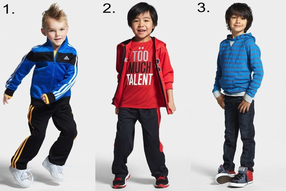 Favorite Boys' Sale @   nordstrom.com   1.   adidas Track Jacket & Track Pants  2.  Under Armour Zip Hoodie & Training Pants  3.  Tucker + Tate Stripe Hoodie & Jeans