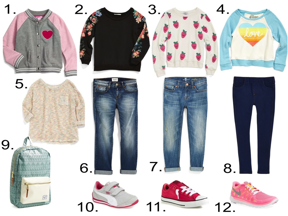 Graphic and Printed Sweatshirts with Jeans, Sneakers, Baseball Jacket and Backpack.   1.   Design History Varsity Jacket   2.   Soprano Flower Print Sweatshirt   3.   Wildfox Happy Berries Baggy Beach Jumper   4.   Mighty Fine 'Sunbleached Love' Sweatshirt   5.   Splendid Multicolor Textured Sweater   6.   Hudson Kids Boyfriend Jeans   7.   7 For All Mankind® Distressed Roll Cuff Jeans   8.   Tucker + Tate 'Sadie' Denim Jeggings   9.   Herschel Supply Co. 'Post' Backpack   10.   PUMA 'Steeple Glitz' Sneaker   11.   Converse Chuck Taylor® All Star® Sneaker   12.     Nike 'Free 5.0' Running Shoe