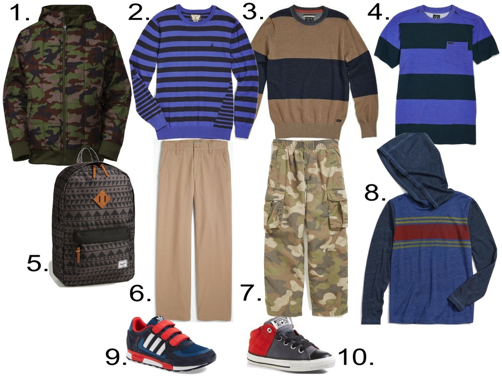 Striped Sweaters & Tees with Chinos and a Puffer... and he can't forget his Backpack! 1.  The North Face Reversible Quilted Hoodie  2.  Volcom 'Main Stripe' Sweater  3.  RVCA 'Block Plate' Sweater  4.  Volcom 'Deacon' T-Shirt  5.  Herschel Supply Co. 'Heritage' Backpack  6.  Nordstrom 'Edward' Chinos  7.  Tucker + Tate 'Zephyr' Cargo Pants  8.  Tucker + Tate 'Halsten' Hooded T-Shirt  9.  adidas 'ZX 850' Sneaker  10.  Converse Chuck Taylor® All Star® Mid Top Sneaker