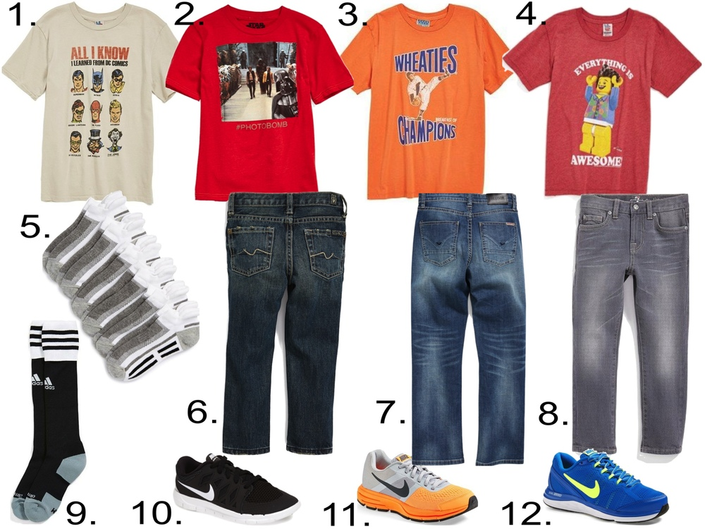 Licensed T-Shirts with Straight-Leg Jeans, Athletic Socks and Nike Free Sneakers.   1.   Junk Food 'All I Know' T-Shirt    2.   Jem 'Vader Bomb' T-Shirt    3.   Junk Food 'Wheaties Breakfast' T-Shirt   4.   Junk Food 'Everything Is Awesome' T-Shirt   5.   Nordstrom Low-Cut Athletic Socks   6.   7 For All Mankind® Straight Leg Jeans   7.   Hudson Kids 'Parker' Straight Leg Jeans   8.   7 For All Mankind® 'The Straight' Straight Leg Jeans   9.   adidas 'Copa Zone Cushion II' Soccer Socks   10.   Nike 'Free 5' Athletic Shoe   11.   Nike 'Air Pegasus+ 30 GS' Running Shoe   12.   Nike 'Dual Fusion Run 3' Athletic Shoe