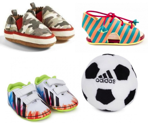 Robeez™ 'Max' Crib Shoe (Baby & Walker) $17.90, Sophia Webster Milo Baby Sandal $254.75, and ADIDAS MESSI CRIB PACK $41.61- Crib Shoes are perfect for your little one to wear when they are a baby, and to have as a keepsake when they are older to remember how tiny their feet once were.  Here are three of my favorite cool and adorable Crib Shoes for newborns.