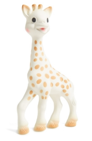 Sophie la Girafe Teething Toy $24.50- Born in France in 1961, Sophie the Giraffe has a long history of helping teething babies. Made from natural rubber and food paint, she is safe to chew. Her shape is easy for baby's hands to grasp, and she makes a delightful squeak when her tummy or head are squeezed.