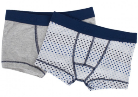 Petit Bateau Gray Star Print 2 Pack Of Trunks  is made in cotton and has a slim-fit, this 2 pack of trunks from Petit Bateau will make the perfect addition to his Underwear drawer. They have a star and plain design, flat seams for comfort and are finished off with branding at the waistband.