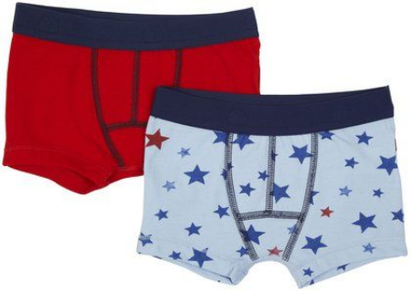 Petit Bateau Boxers  are  made in   cotton, this   2 pack of trunks from Petit Bateau  has 1 star print and 1 striped.