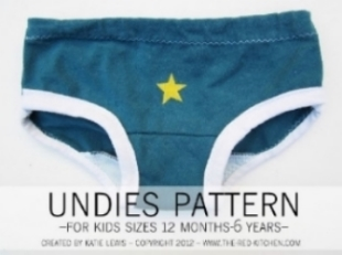 Undies Pattern from the-red-kitchen.com  is a cute pattern for making undies! It's for sizes 12/18 months-size 6. They're fast and easy to make!