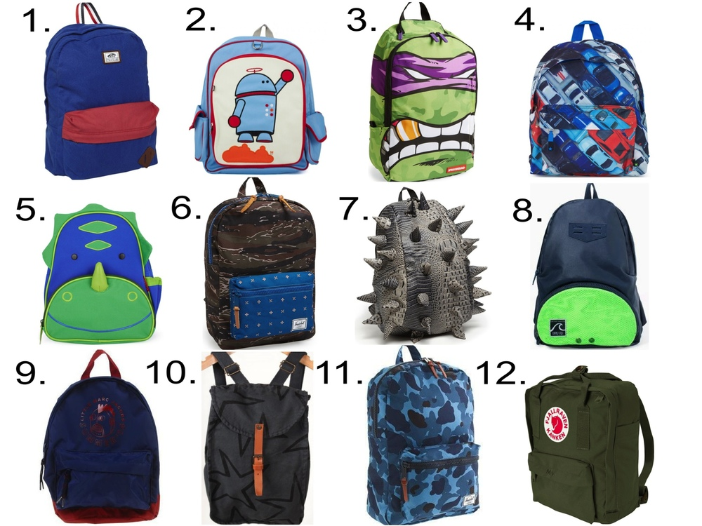 For Him... 1. Vans Old Skool II Backpack - Classic Blue-One SizefromDiapers.com$40.00 2. Beatrix New YorkAlexander Robot Rucksack from AlexandAlexa$69.50 3. SPRAYGROUND'Teenage Mutant Ninja Turtles™ - Grillz' Backpack (Boys) from Nordstrom $60.00 4.MoloToy Car Backpack from AlexandAlexa$44.50 5. Skip-HopDinosaur Backpack from AlexandAlexa$35.00 6. Herschel Supply Co.'Settlement' Tiger Camo Backpack (Boys)from Nordstrom$49.99 7. MadPax'Later Gator' Backpack (Boys) from Nordstrom $60.00 8. Zara Combined sport rucksack $12.99 9. LITTLE MARC JACOBSBackpack from YOOX $95.00 10. Bobo ChosesGREY STARS SCHOOLBAG $78.84 11. HERSCHEL SUPPLY CO.® FOR CREWCUTS SETTLEMENT BACKPACK IN BLUE CAMO $55.00 12. Fjallraven Kanken Mini from Diapers.com$48.29-$57.29