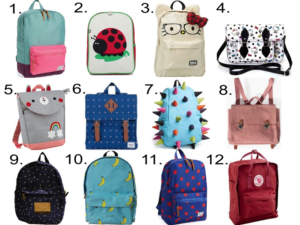 """For Her... 1. Herschel Supply Co.'Settlement' Backpack (Girls) from Nordstrom$49.99  2. Beatrix New YorkJuju Ladybird Little Rucksack from AlexandAlexa$56.00 3. HELLO KITTY Nerd Face Canvas Backpack from ToyQube $39.99 4. Zatchels11.5"""" Hello Kitty Polka Dot Satchel from AlexandAlexa$192.00 5. The Land of Nod Teacher's Pet Backpack (Bunny) $29.00 6. HerschelSurvey Backpackfrom TeaCollection$50.00 7. MadPax'Spiketus Rex - Whirlpool' Backpack (Girls) from Nordstrom $60.00 8. ZaraFabric rucksack with buckles $12.99 9. Bit'z KidsBACKPACK$27.00 10. POMELO Original Banana Blue Backpackfrom Amazon $23.10 11. Herschel Supply Co.'Settlement' Backpack (Girls) from Nordstrom $49.99 12. FJÄLLRÄVEN® CLASSIC KANKEN BACKPACK from J.Crew $75.00"""