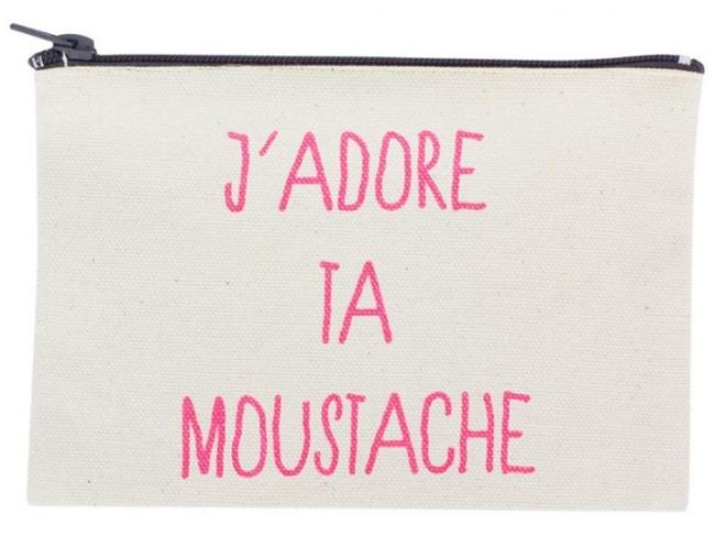 La Cerise Sur Le Gâteau 'J'adore Ta Moustache' Zip Purse