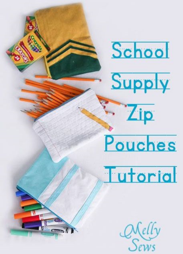 DIY Notebook Paper and Pencil Zipper Pouch Tutorial