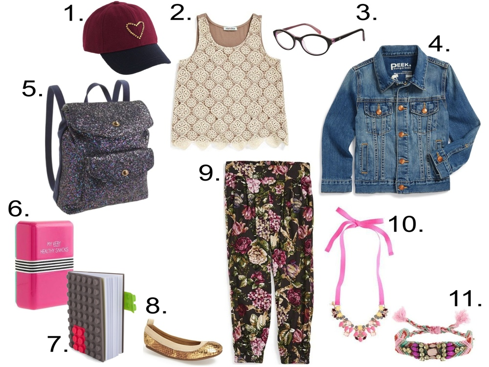 Her 1st Day of School...  1.  J.Crew CRYSTAL HEART BASEBALL CAP  2.  Mia Chica Crochet Overlay Tank Top  3.  Zooventure Tutu Eyewear  4.  Peek 'Raegan' Denim Jacket  5.  J.Crew GLITTER BACKPACK  6.  HAPPY JACKSON™ SNACKS BOX  7.  Mark's Silicone Notebook  8.  Yosi Samra Python Embossed Metallic Leather Flat  9.  Mia Chica Floral Pants  10.  J.Crew STATEMENT NECKLACE  11.  J.Crew MULTI-BEADED FRIENDSHIP BRACELET