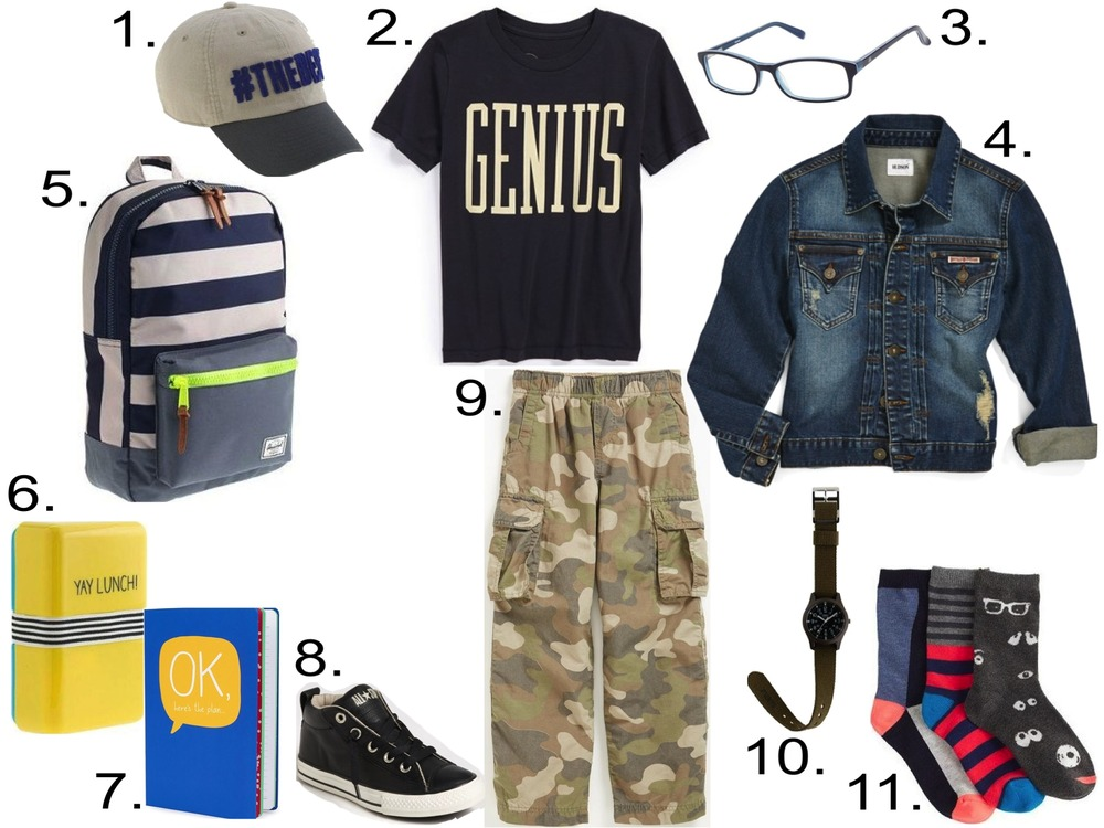 His 1st Day of School... 1.  J.Crew #THEBEST BASEBALL CAP  2.  Peek 'Genius' Graphic T-Shirt  3.  Zooventure Gummy Eyewear  4.  Hudson Kids Jean Jacket  5.  HERSCHEL SUPPLY CO.® FOR CREWCUTS BACKPACK  6.  HAPPY JACKSON™ YAY LUNCH BOX  7.  Happy Jackson Notebook  8.  Converse 'Street' Mid Sneaker  9.  Tucker + Tate 'Zephyr' Camo Cargo Pants  10.  TIMEX® CAMPER WATCH WITH INTERCHANGEABLE STRAP  11.  J.Crew GOOGLY EYE TROUSER SOCKS PACK