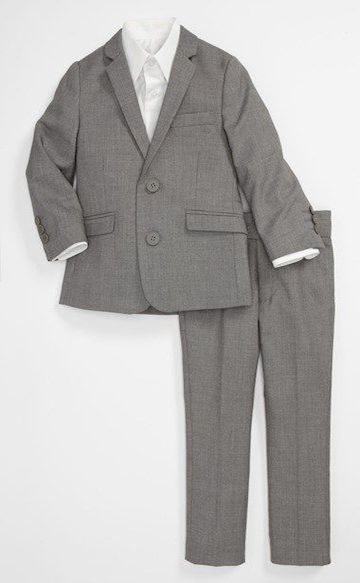 Appaman Two-Piece Suit in Mist (Toddler Boys, Little Boys & Big Boys) $155.00 is a handsome suit with a two-button, notch-lapel jacket and flat-front trousers. It comes in four colors Mist, Glen Plaid, Shark and Black.