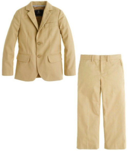 J.Crew BOYS' LUDLOW SUIT JACKET IN ITALIAN CHINO $148.00 and BOYS' LUDLOW SUIT PANT IN ITALIAN CHINO $75.00 is a sharp, slim-fitting suit for all the parties he goes to. It's cut from the same Italian chino used for J.Crew men's collection, so it's just like Dad's, only smaller. It comes in 2 colors Wheats or Warm Navy.