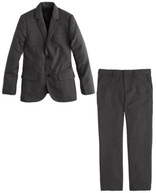 J.Crew BOYS' LUDLOW SUIT JACKET IN ITALIAN WORSTED WOOL $210.00 and BOYS' LUDLOW SLIM SUIT PANT IN ITALIAN WORSTED WOOL $110.00 is a dapper and distinctive suit made from the same high-quality Italian wool J.Crew uses for Dad. It comes in two colors Charcoal and Navy.