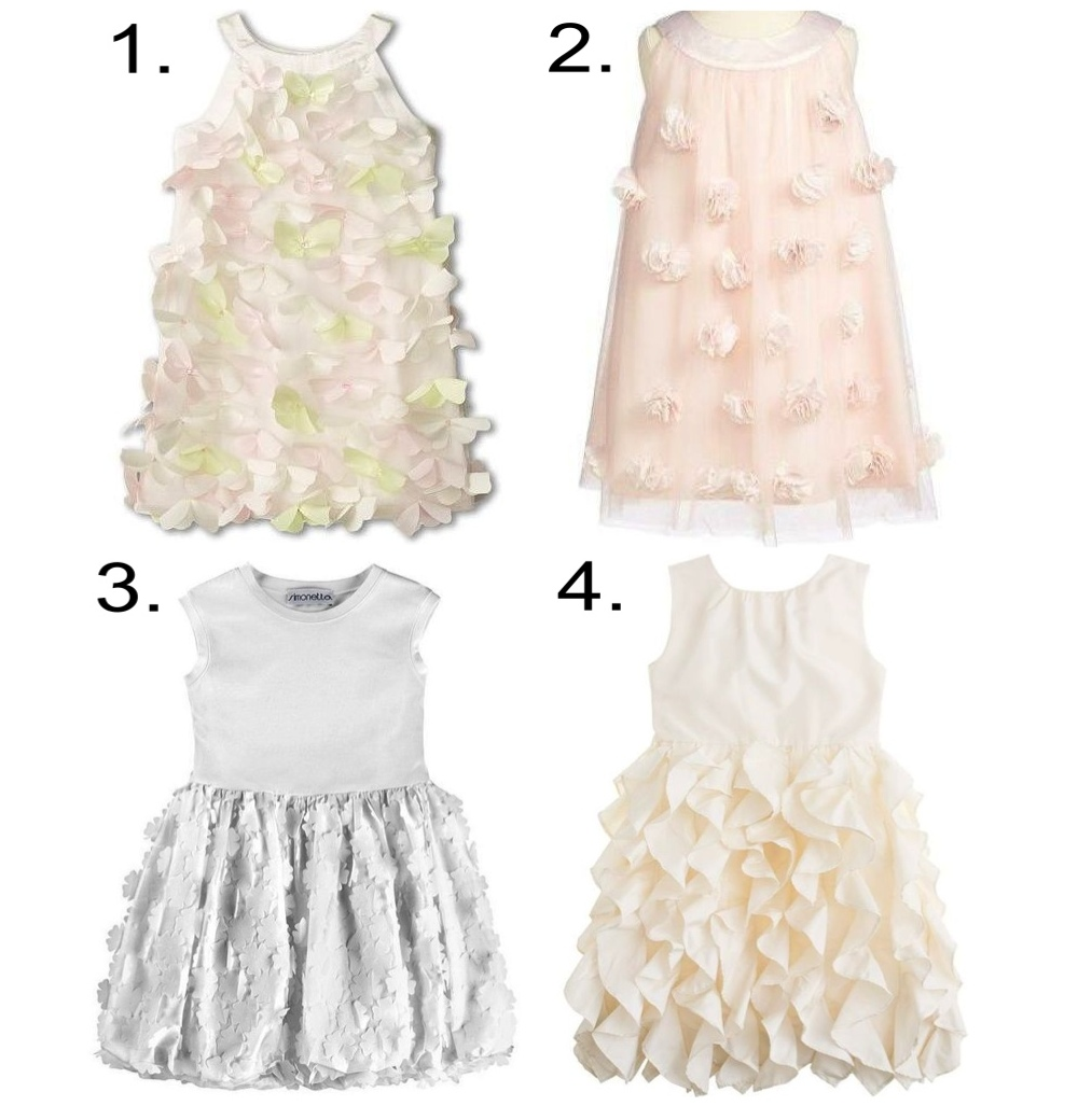 3-D floral appliqué - girly 3-D florals and ruffles made a cool comeback for spring '14 are are here to stay for fall... this pretty trend is 100% flower girl approved. 1.  Biscotti Fan Club Dress 2. Us Angels Embellished Dress 3. Simonetta Dress with Chiffon Flower Appliqué  4. J.Crew LYLA DRESS IN SILK TAFFETA