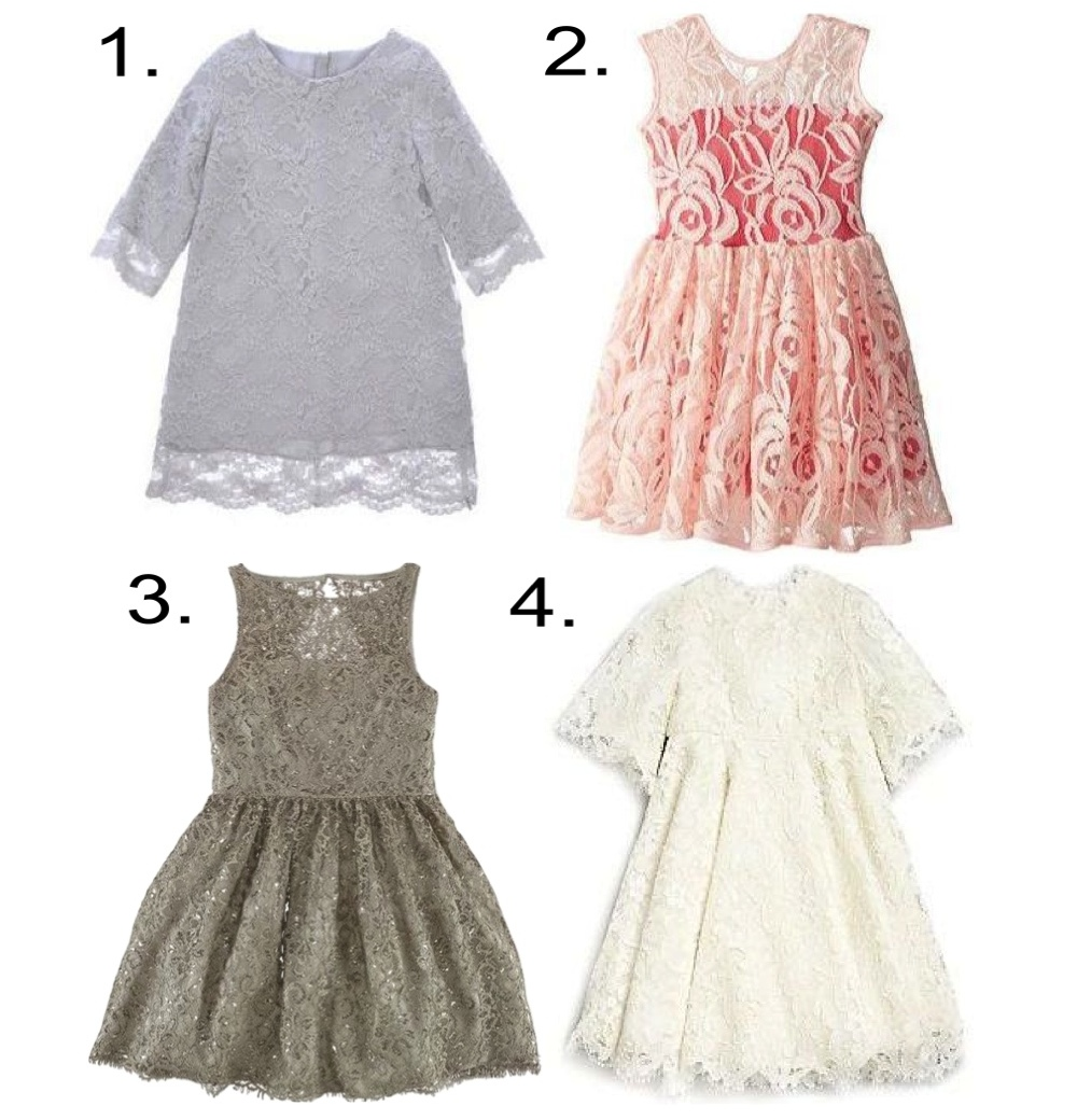Lace - this year more then ever lace took over the runways, with delicate lace becoming popular for spring into fall... this feminine trend is perfect for weddings. 1. HUCKLEBONES Lace Dress 2. Fiveloaves Twofish Lace Dress 3. Ralph Lauren Metallic Lace Dress 4. Dolce & Gabbana Lace Dress