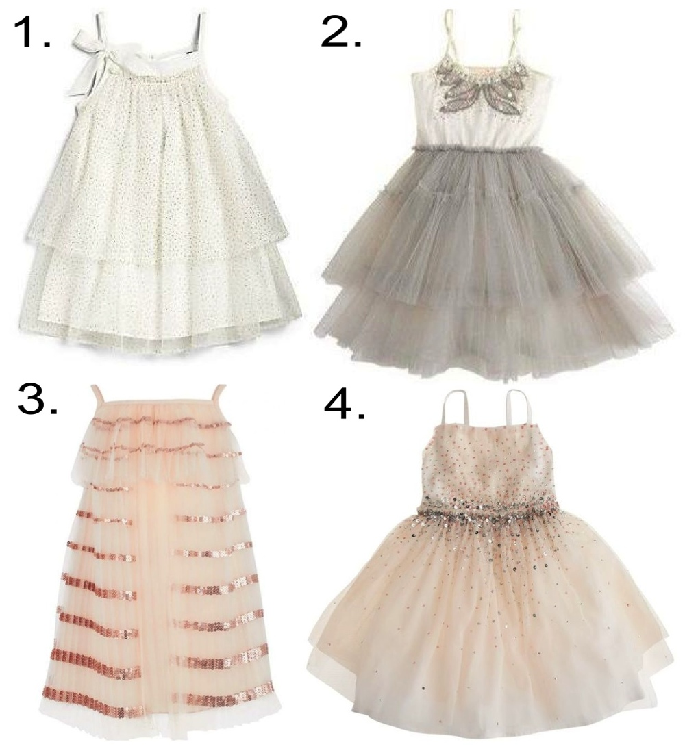Embellished Details - beaded and bedazzeled jewels and sequins add a touch of glam to a wedding party... this sparkly trend will have your little one feeling like a Princess.  1. Lili Gaufrette Sparkle Dress 2. J.Crew TUTU DU MONDE® FEATHER DRESS 3. Chloe Sequin Tutu Dress 4. J.Crew LULABELLE DRESS