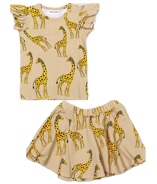 mini rodini giraffe wing tee $36.50 from barnyardkids.co.uk (also available from bucketsandspades.com.au $42.11) and Mini Rodini Giraffe Print Jersey Skirt from alexandalexa.com $28.00