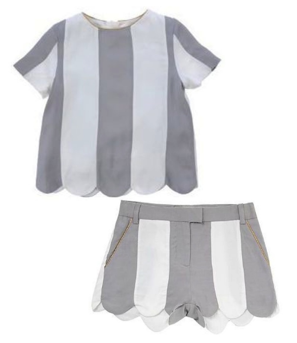 LITTLE MARC JACOBS Little Girls Blouse $97.00 Big Girls Sizes $97.00 from yoox.com (also available from houseoffraser.co.uk $70.54) and Little Marc Jacobs Girl`S Stripe Twill Shorts $62.24 from houseoffraser.co.uk