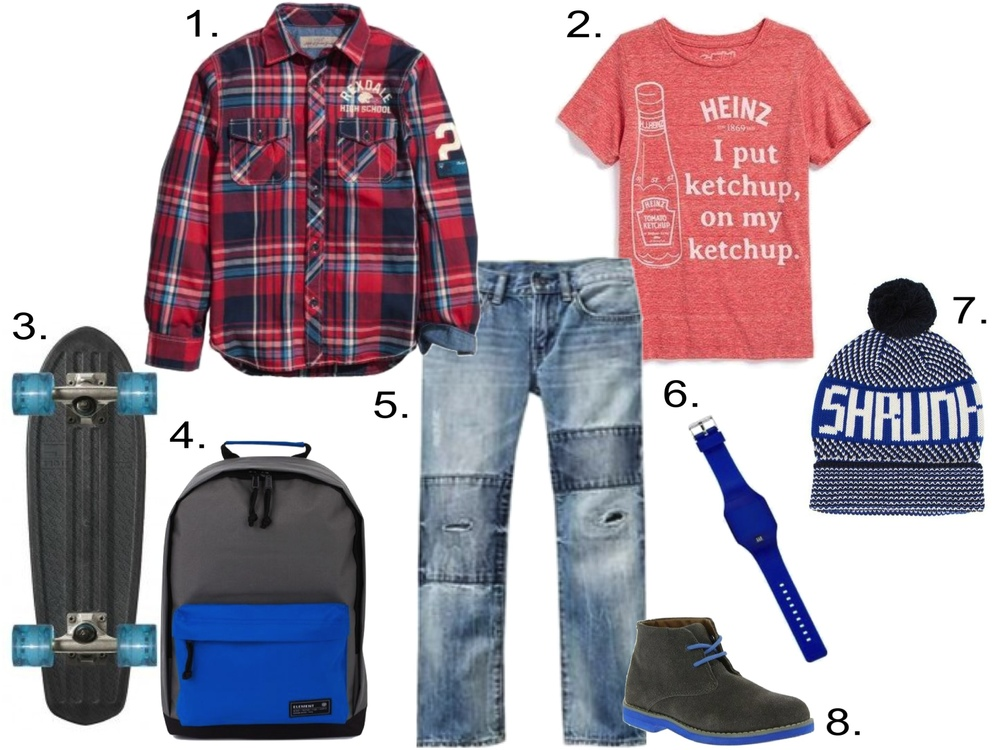 transition his favorite Statement Graphic T-Shirt to fall... 1.  H&M Plaid Shirt  2.  Mighty Fine T-Shirt  3.  GLOBE Clear Cruiserboard  4.  Element Beyond Backpack  5.  GAP 1969 Rip & Repair Jeans  6.  GAP Ribbed Digital Watch  7.  Scotch Shrunk Bobble Hat  8.  Florsheim Chukka Boot