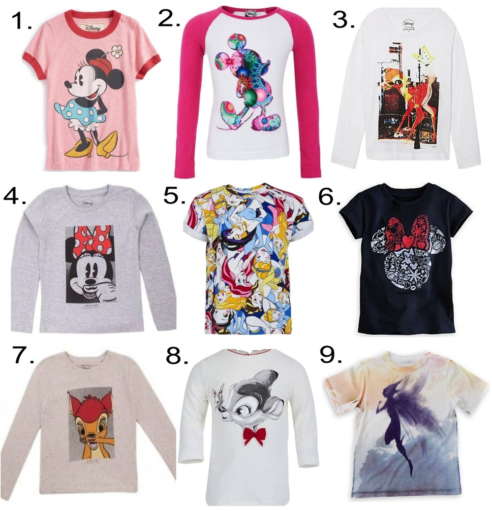 Disney Girls Collaborations 1. Peek 'Disney Impossible' Tee 2. Desigual Mickey Mouse Tee 3. ELEVEN PARIS Bambi Tee 4. LITTLE ELEVEN PARIS Minnie T-shirt 5. Little Eleven Paris Disney Princess Tee 6. Minnie Mouse Icon Glitter Tee 7. LITTLE ELEVEN PARIS Bambi T-shirt 8. Monnalisa Bambi Face Tee 9. Maleficent Tee by Stella McCartney