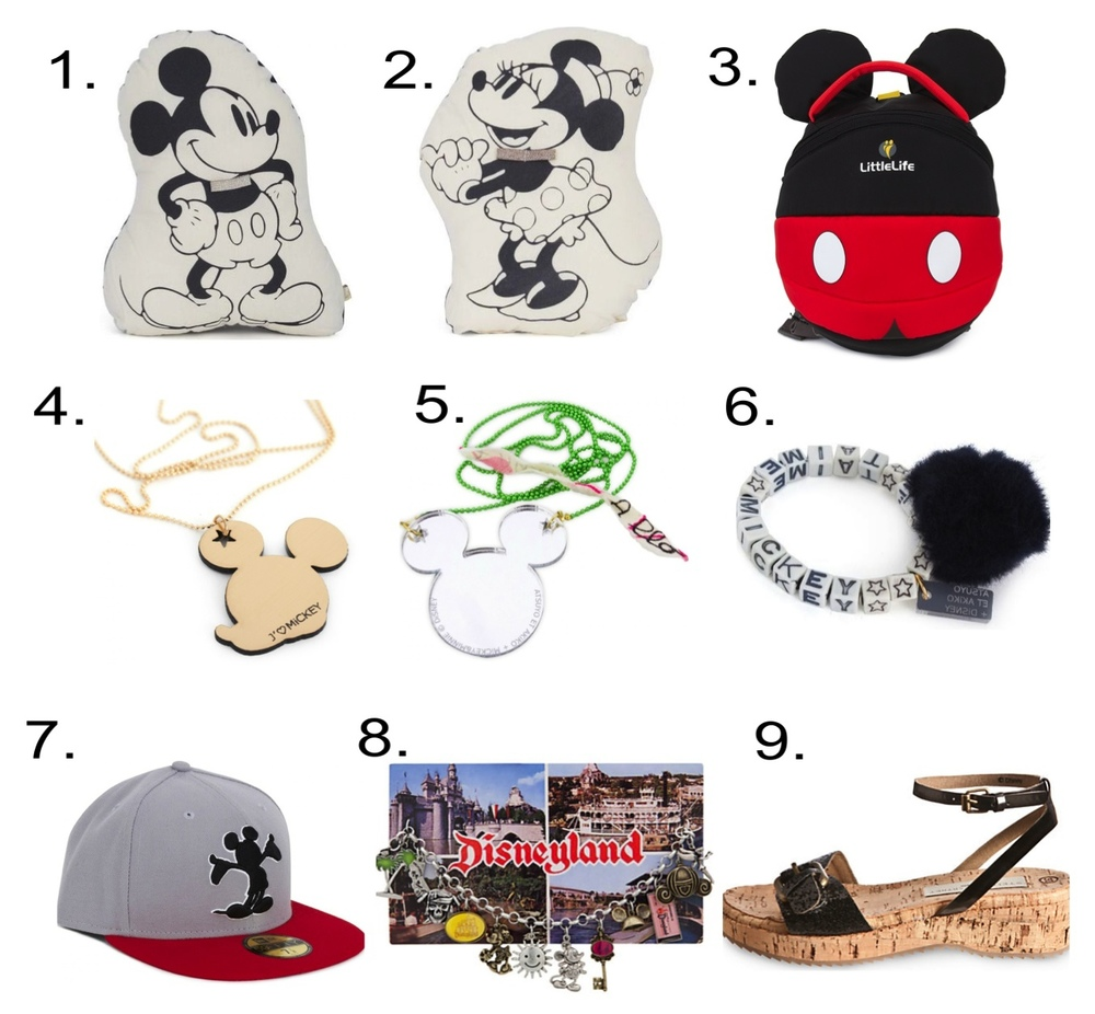Disney Accessories Collaborations 1. Atsuyo Et Akiko Mickey Mouse Cushion 2. Atsuyo Et Akiko Minnie Mouse Cushion 3. LittleLife Mickey Mouse Toddler Daysack 4. Atsuyo Et Akiko Mickey Mouse Necklace 5. Atsuyo Et Akiko Mickey Mouse Mirrored Necklace 6. Atsuyo Et Akiko Mickey Mouse Pom Pom Bracelet 7. New Era Mickey Mouse Cap 8. Classic Postcard Disneyland Charm Bracelet 9. Maleficent Shoes by Stella McCartney