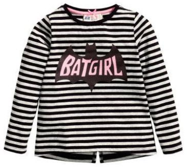 H&M Jersey Top with Printed Batgirl Design