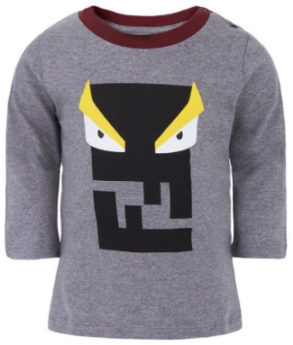 Fendi Gray Monster Print Tee