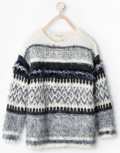 Zara jacquard fur sweater