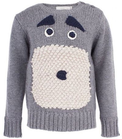 Stella McCartney Kids gray sweater with face