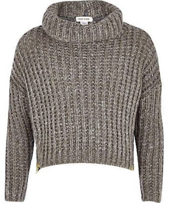 River Island GIRLS GREY ZIP HEM CHUNKY KNIT SWEATER