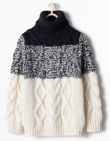Zara Colorblock Cable Sweater