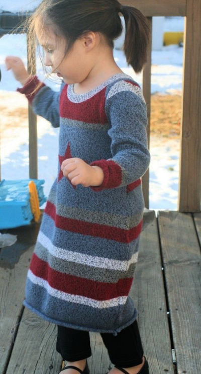 Empowering Mommy DIY Repurposing Sweater Into Sweater Dress