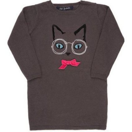 LILI GAUFRETTE Cat & Eyeglasses Embroidered Sweater Dress