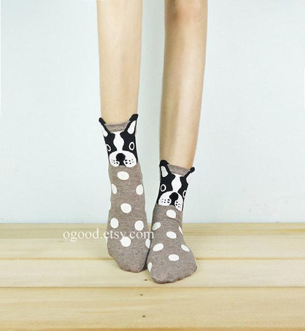 Boston Terrier Pom Pom Nose Socks by ogood