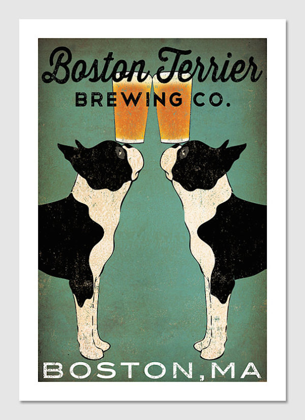 Boston Terrier Brewing Co. Print by nativevermont
